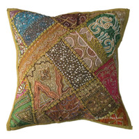 Green Unique Beaded Patchwork & Embroidered Accent Throw Pillow Cover Sham
