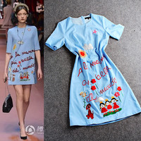 Sky Blue Embroidered Graphic Quarter Sleeve Shift Dress