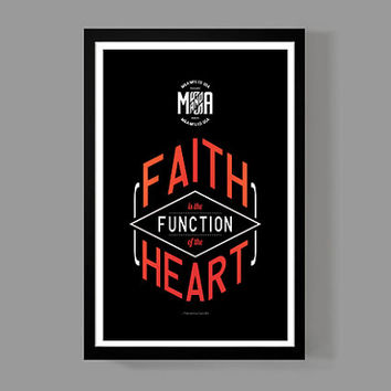 Art print motivational home decor - Faith is the function of the heart Quote Poster - Distressed Typographic Print - Mahatma Gandhi
