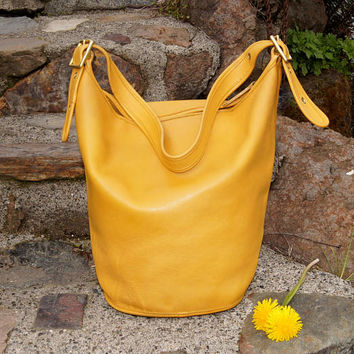 Coach Bonnie Cashin XL Yellow Feedbag Bucketbag