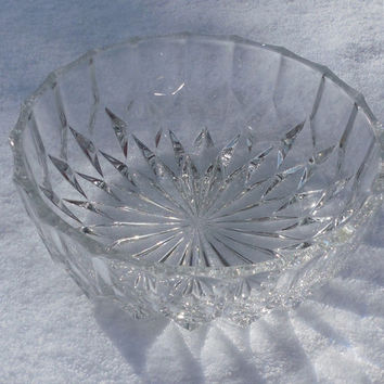 "Vintage Glass Serving Bowl  Crystal 7"" x 2"" Etched Crystal Serving - Snacks - Salad Bowl"