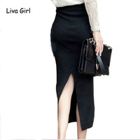 2017 Fashion Long Women Stretched  Knitted Pencil Skirts High Waist Slim Elastic  Bodycon Work OL Wrap  Maxi Skirts