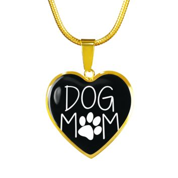 Dog Mom Gold Luxury Heart Charm Neacklace