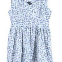 ROMWE | Floral Print Cut-out Neck Blue Dress, The Latest Street Fashion