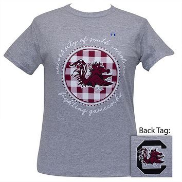 South Carolina Gamecocks Buffalo Plaid Logo Sports Grey T-Shirt