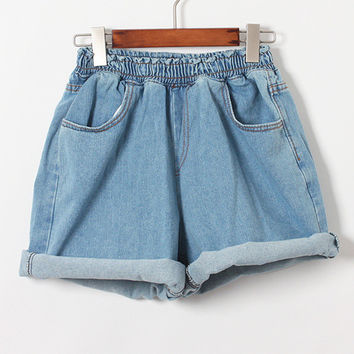 TIC-TEC fashion shorts women denim female shorts elastic waist solid blue short Jeans women a shorts plus size for women P2428