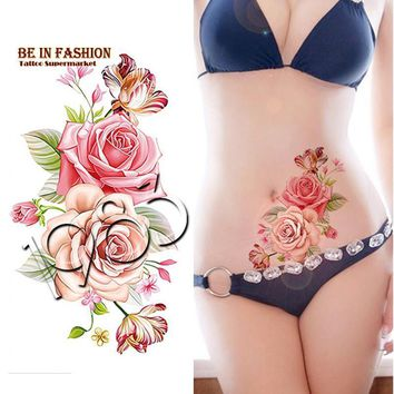 Tattoo Sticker 1piece Indian Arabic rose flowers waterproof