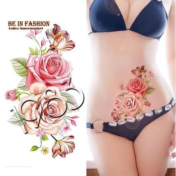 Temporary Tattoo Sticker 1 piece Indian Arabic rose flowers waterproof