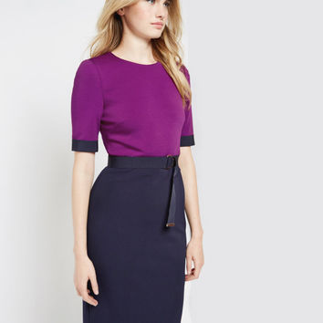 Colour block midi dress - Mid Purple | Dresses | Ted Baker ROW