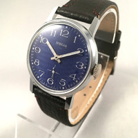 "Vintage Soviet men's ""ZIM - POBEDA"" wristwatch, with lovely blue dial .Comes with brand new leather band!"