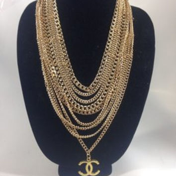 Long Layered Gold Necklace W Chanel Charm (Handmade)