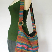 Tote bag Nepali cotton Hobo Medium bag Crossbody Purse Tribal Shoulder Bag  Hippie bag Bohemian Handmade bag
