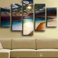 Hand-painted Yellow Beach  Oil Painting on Canvas  |  The Inspired Idea