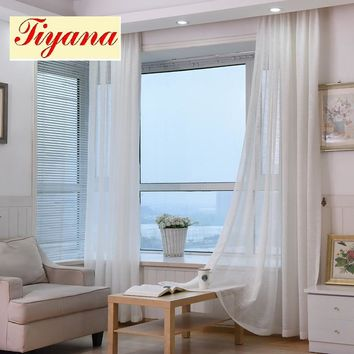 Decorative Hotel Modern  Thick Cotton Linen Tulle Curtains