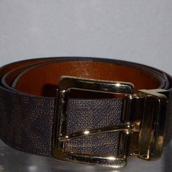 DCCK8TS MICHAEL BY MICHAEL KORS WOMEN'S BELT MK LOGO BROWN LEATHER
