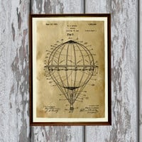 Balloon print Travel poster Patent art Antique home decor AKP164