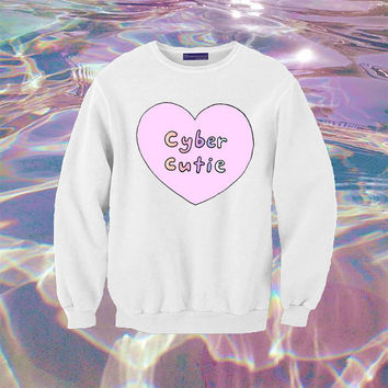 Cyber Cutie Sweatshirt | Unisex S-XXL | Tumblr Cute Cool Kawaii Internet Seapunk Jumper Love Heart *ON SALE*