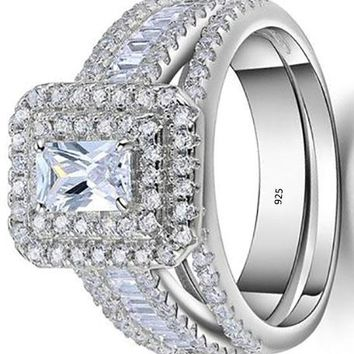 1.8ct Radiant White Cz 925 Sterling Silver Wedding Engagement Ring Set Bridal