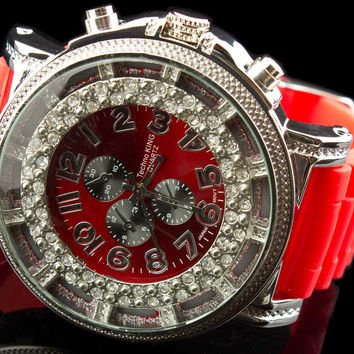 "Luxury Mens Large Jewel Face Premium Watch ""Cristal"""