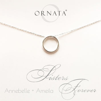 """Sisters Forever"" Personalized Sterling Silver Necklace"