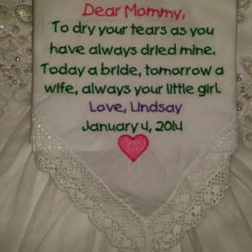 Mother of the Bride Personalized Embroidered Wedding Handkerchief FREE gift envelope included