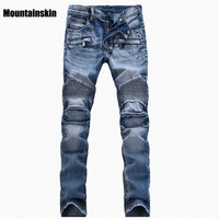 Mountainskin Men's Ripped Jean Denim Straight Biker Jeans Men Washed Skinny Jeans Vintage Slim Fit Brand Trousers Stretch SA089
