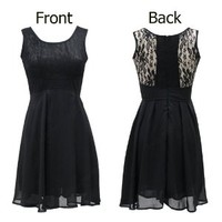 Fashion Women Back Chic Elegant Scoop Neck Lace Insert Zipper Skater Mini Short Sleeveless Blouse Tank Dresses with Sleeves Lace Top Dresses Black for Women Size XL
