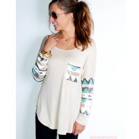SZ LARGE Havana Nights Beige Tribal Sequin Sleeve Pocket Top