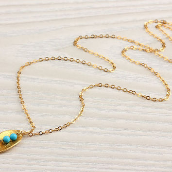 "Gold leaf necklace, turquoise necklace, wedding anniversary, gold vermeil, bridal necklace, tiny necklace, everyday simple, ""Halia"" Necklace"