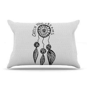 "Vasare Nar ""Catch Your Dreams"" Typography Illustration Pillow Case"