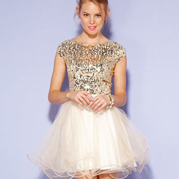 Trixxi Juniors Dress, Cap Sleeve Sequin Tulle - Juniors Dresses - Macy's