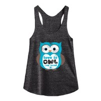love is owl you need-Female Athletic Tri Black Tank