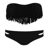 Zicac Fashion Women`s Sexy Tassel Padded Bandeau Fringe Bikini Set Beauty Women Favor 2pcs Padded boho fringe top strapless bikini Swimwear 6 Colors to Choice (black, S US2-4 Cup Size A-B): Clothing