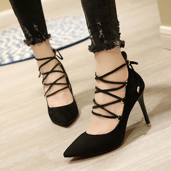 Free Shipping Straps Shallow Mouth Women's Sexy Suede Casual Shoes Pointed Black Red Bottom High Heel Valentine Shoes Size 35-39