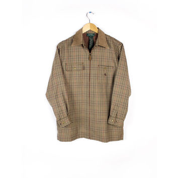 Ralph Lauren 100% Worsted Wool Houndstooth Equestrian Riding Shirt with Leather Collar / Camel Plaid Flannel /  Medium