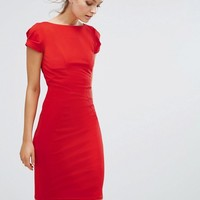 Closet London Pencil Dress With Ruched Cap Sleeve at asos.com