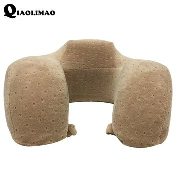 New Solid color U Shape Pillow Travel Pillow Upgrade Memory Foam Pillows Massager Slow Rebound Memory Sponge Zero Press Cervical