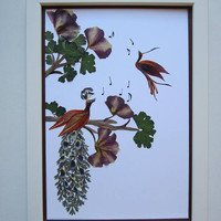 "Unique picture from pressed flowers ""Song"" -  Pressed flowers art - Unique gift - Art collage - Home decor wall art - Framed picture."