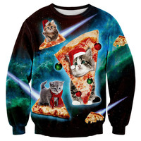 Christmas s Men Funny 3D Print Cats Space Galaxy Pizza 5XL