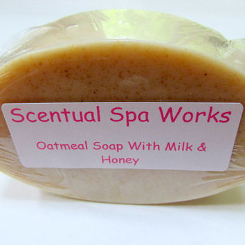Oatmeal soap natural soap oatmeal milk and honey soap handmade personalized soap bath and beauty thank you gifts wedding favors