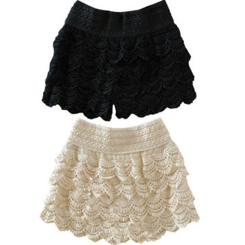WOMENS PANTS SKIRTS DRESS LACE SHORTS CUTE CROCHET#050
