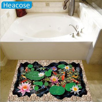2016 Hot 3D fish ponds Lotus floor coverings sticker kids bedroom Bathroom wall stickers decals poster Home Decor