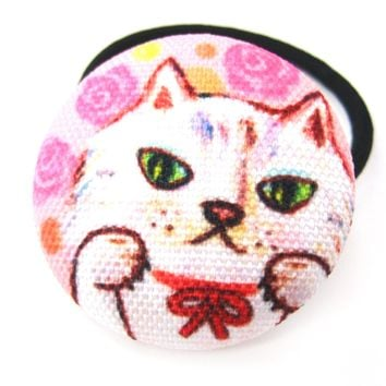 Adorable Kitty Cat with Pink Roses Button Hair Tie Pony Tail Holder