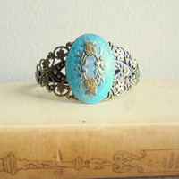 Turquoise Gold Bracelet Lord of the Rings Bohemian LOTR Jewelry Antique Style Gothic Vintage Style Goth Pewter Steampunk Victorian