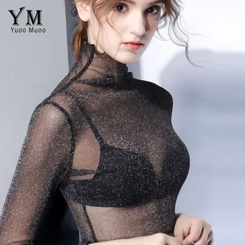 YuooMuoo Sexy Transparent Mesh T Shirt High Quality Women Turtleneck Tops Plus Size Long Sleeve Sheer Slim Ladies Sequin Top