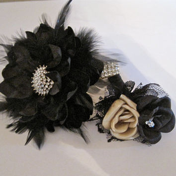 Rhinestone Feather Wrist Corsage Bracelet Set Prom Homecoming Black Satin Rhinestone Wrist Corsage with Matching Boutonniere Custom Order