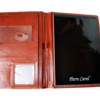 A4 brown leather wallet. Pierre Carrel