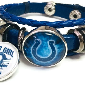 NFL Blue Smoke Horseshoe And Girl Loves Indianapolis Colts Bracelet Blue Leather Football Fan W/2 18MM - 20MM Snap Charms New Item