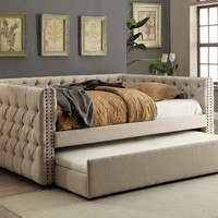 Suzanne collection ivory tufted linen like fabric upholstered twin size day bed