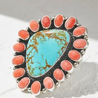 Free People Pink Coral Turquoise Cluster Ring